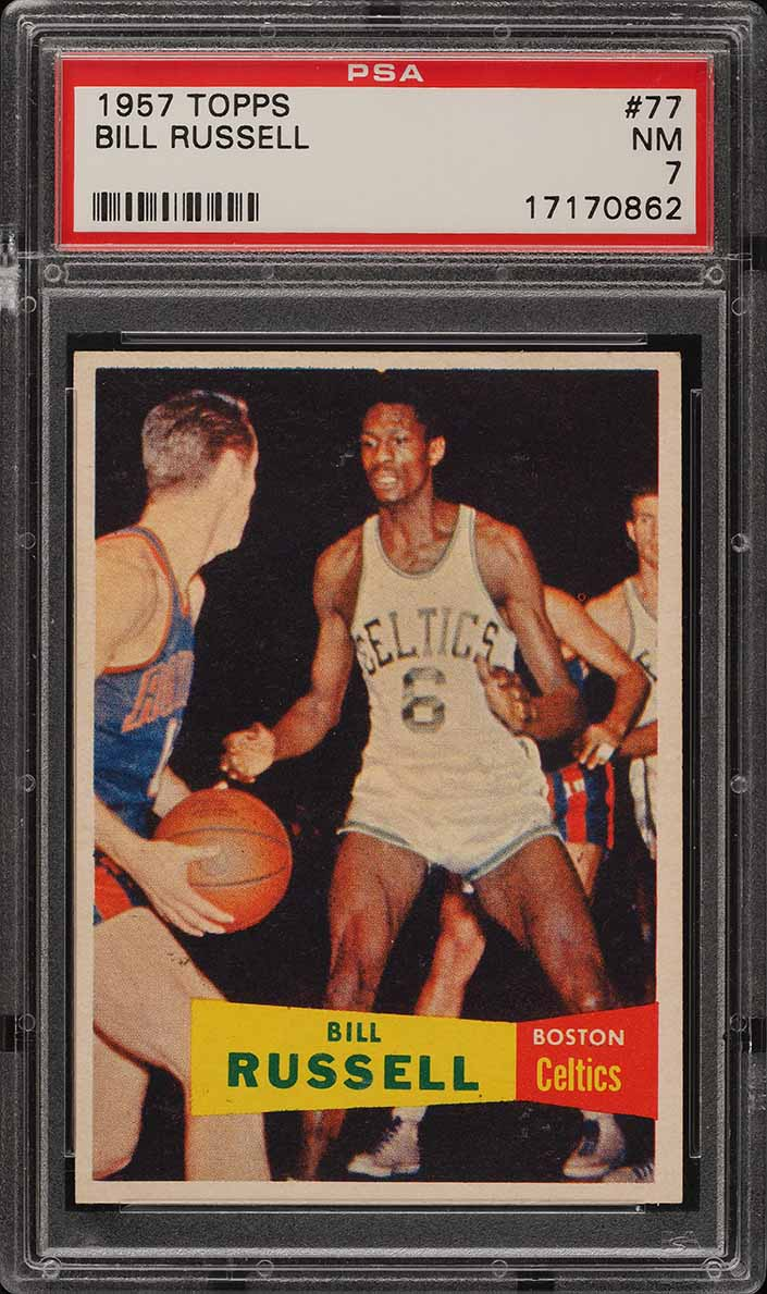 1957 Topps Basketball Bill Russell SP ROOKIE RC #77 PSA 7 NRMT (PWCC) - Image 1