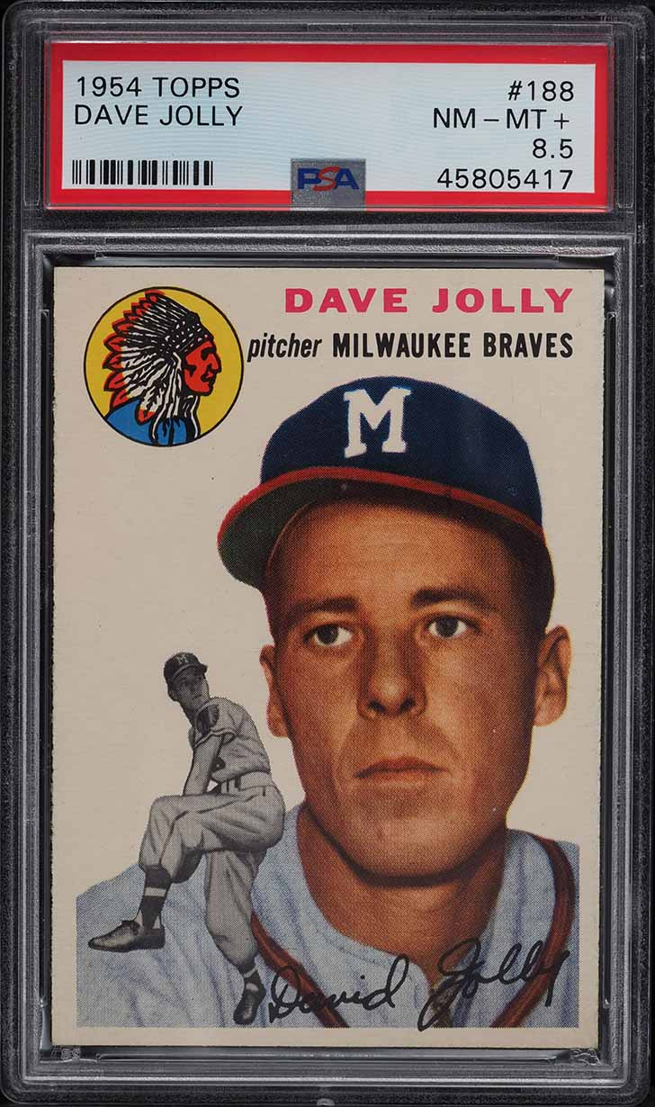 1954 Topps Dave Jolly #188 PSA 8.5 NM-MT+ - Image 1