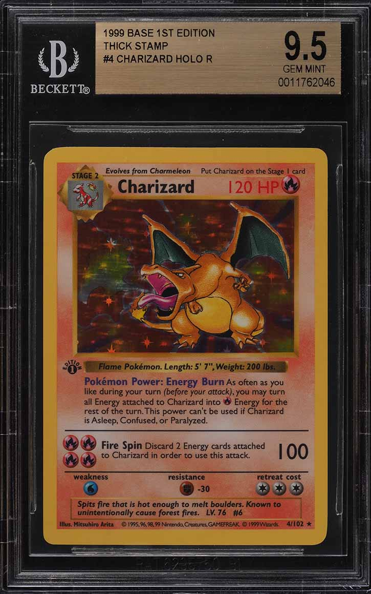 1999 Pokemon Game 1st Edition Holo Charizard THICK STAMP #4 BGS 9.5 GEM (PWCC) - Image 1
