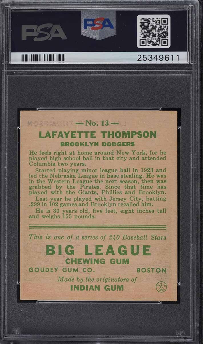 1933 Goudey Lafayette Thompson #13 PSA 6 EXMT - Image 2