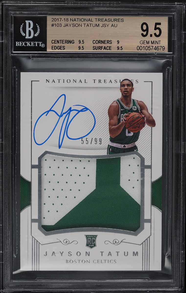 2017 National Treasures Jayson Tatum ROOKIE RC PATCH AUTO /99 #103 BGS 9.5 GEM - Image 1