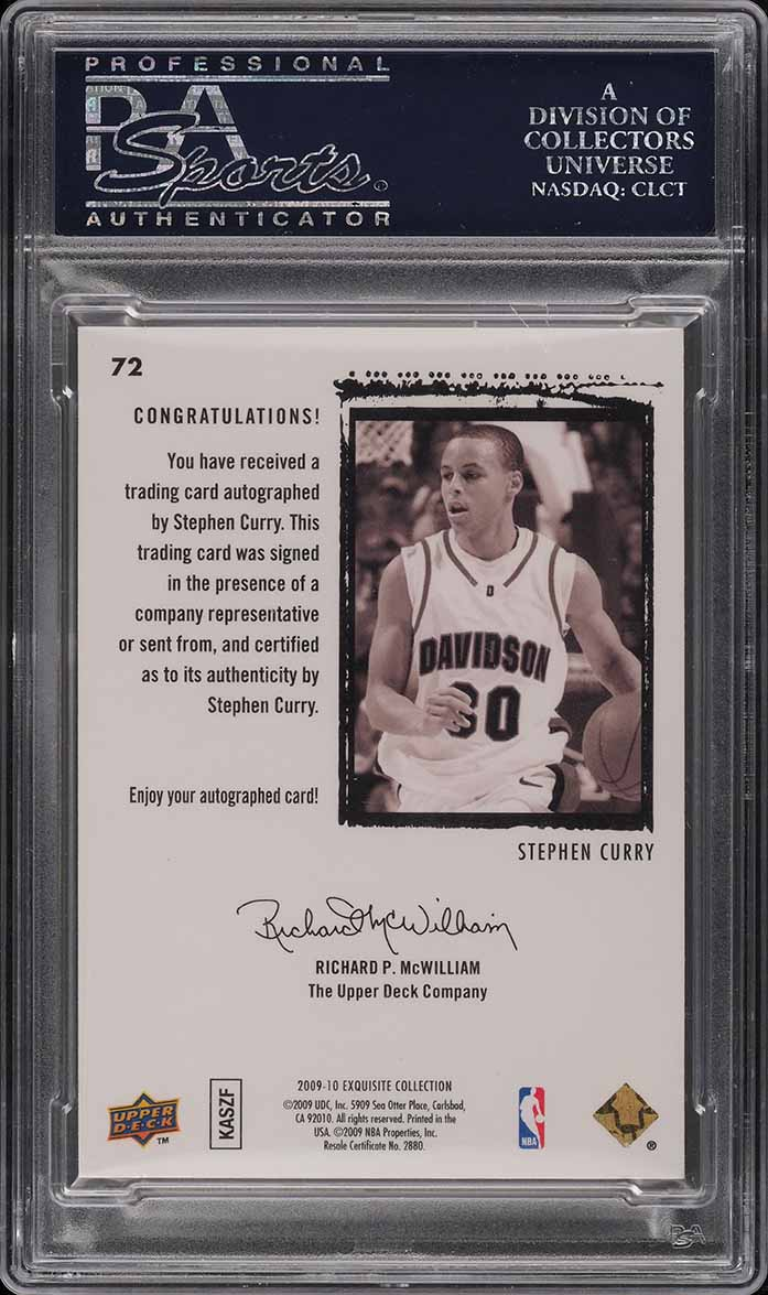 2009 Exquisite Collection Stephen Curry ROOKIE RC AUTO /225 #72 PSA 10 (PWCC) - Image 2