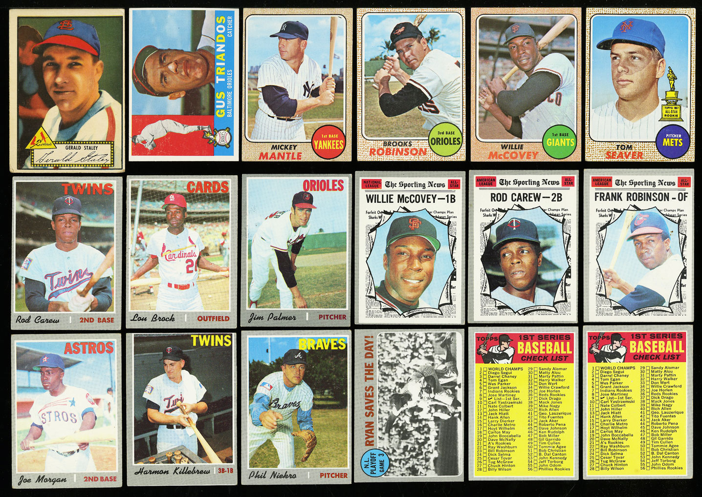 Lot(27) 1952-77 Topps Stars w/ Mantle Rose Seaver McCovey Carew Sutter RC (PWCC) - Image 1