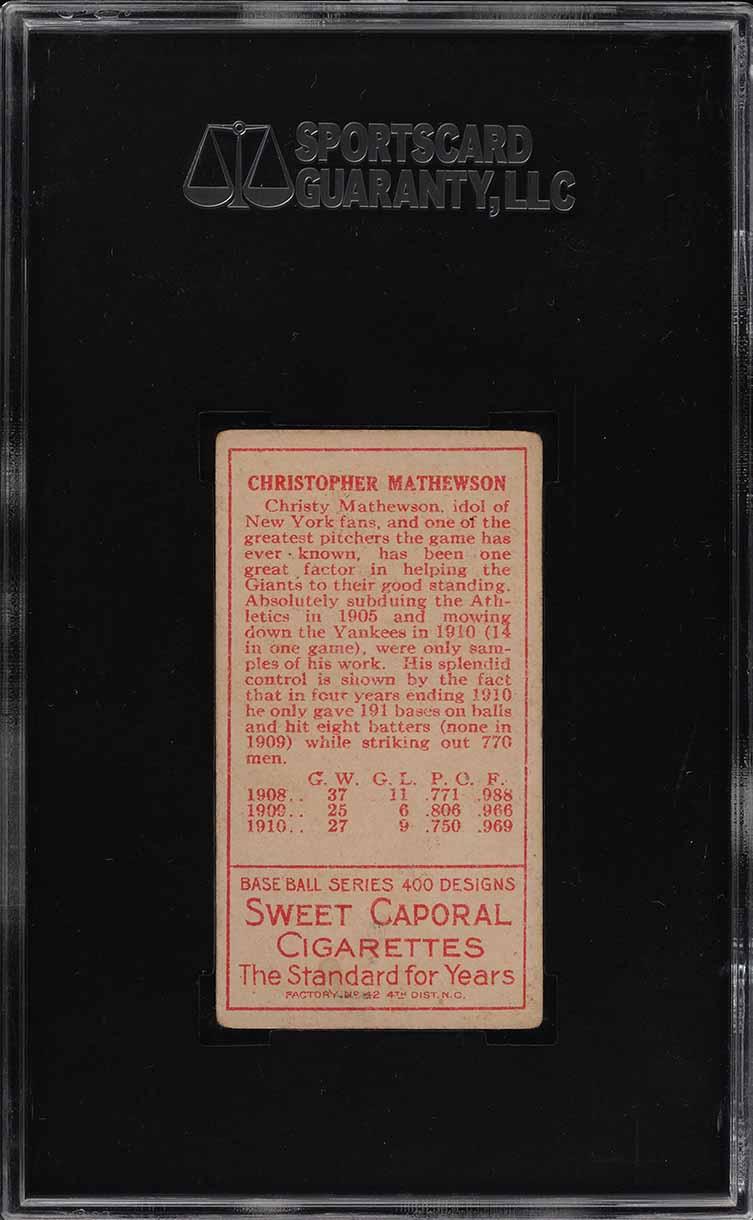 1911 T205 Gold Border Christy Mathewson SGC Auth (PWCC) - Image 2