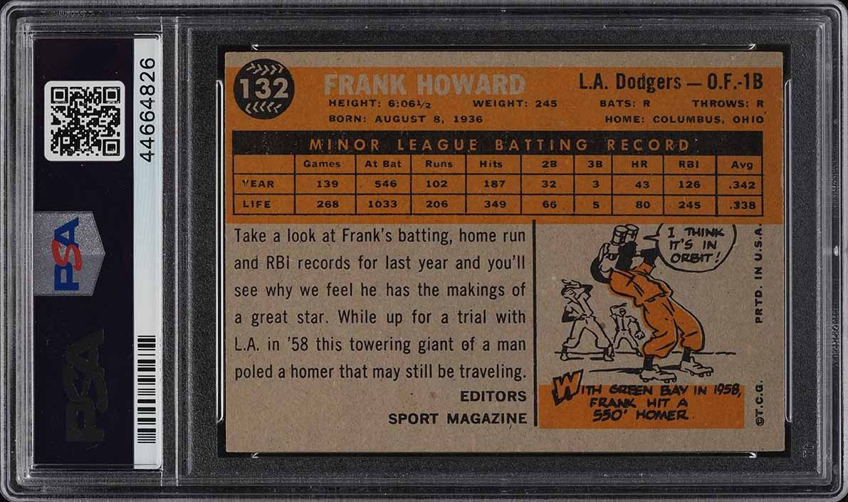 1960 Topps Frank Howard ROOKIE RC #132 PSA 5 EX - Image 2
