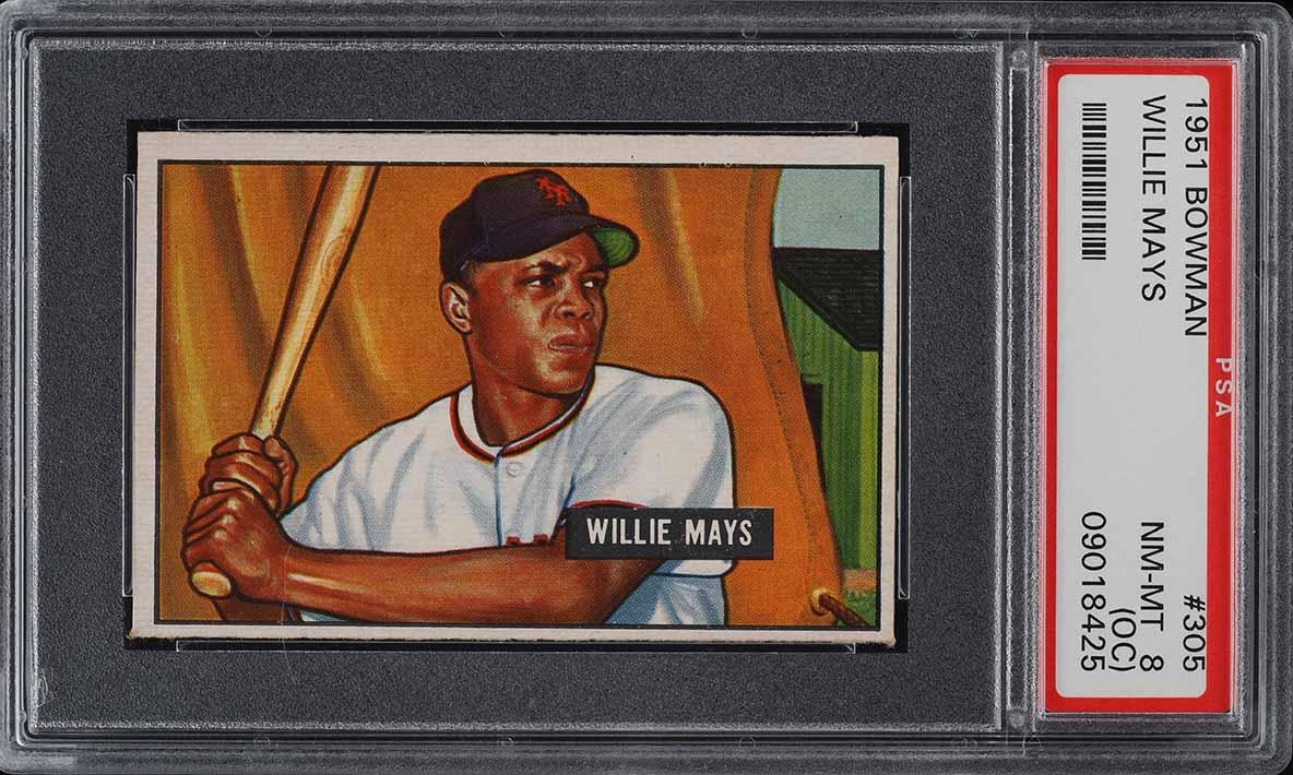 1951 Bowman Willie Mays ROOKIE RC #305 PSA 8(oc) NM-MT (PWCC) - Image 1