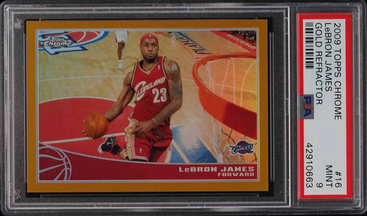 2009 Topps Chrome Gold Refractor LeBron James /50 #16 PSA 9 MINT - Image 1