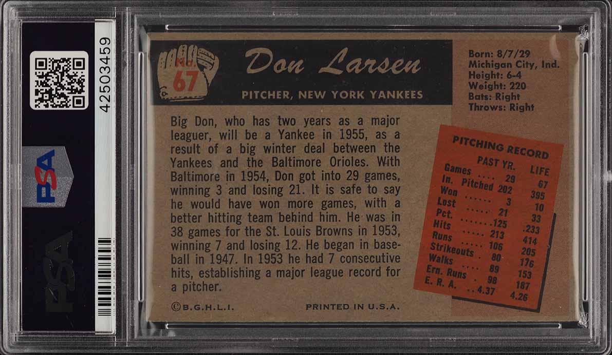 1955 Bowman Don Larsen #67 PSA 8 NM-MT (PWCC) - Image 2