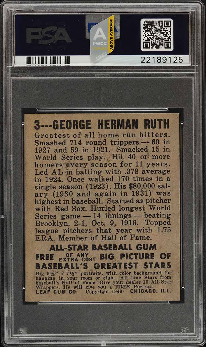 1948 Leaf Babe Ruth #3 PSA 7 NRMT (PWCC-A) - Image 2