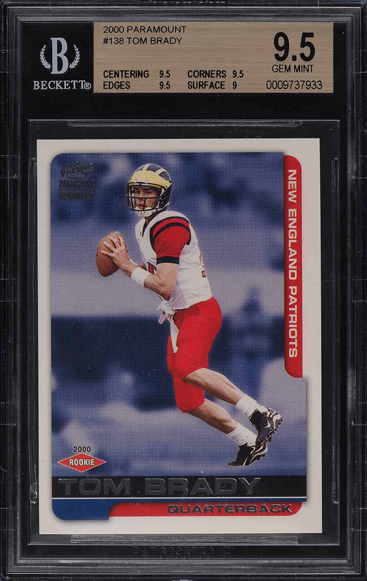 2000 Pacific Paramount Football Tom Brady ROOKIE RC #138 BGS 9.5 GEM MINT - Image 1