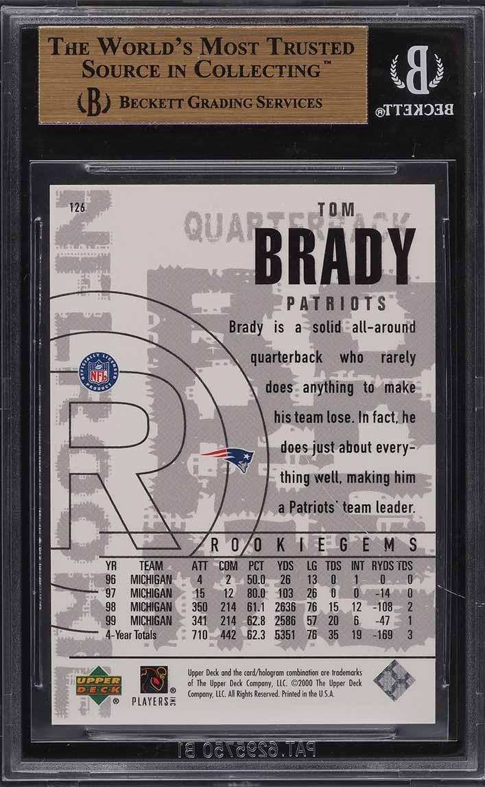 2000 Black Diamond Tom Brady ROOKIE RC #126 BGS 9.5 GEM MINT - Image 2