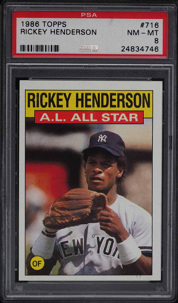 1986 Topps Rickey Henderson ALL-STAR #716 PSA 8 NM-MT - Image 1