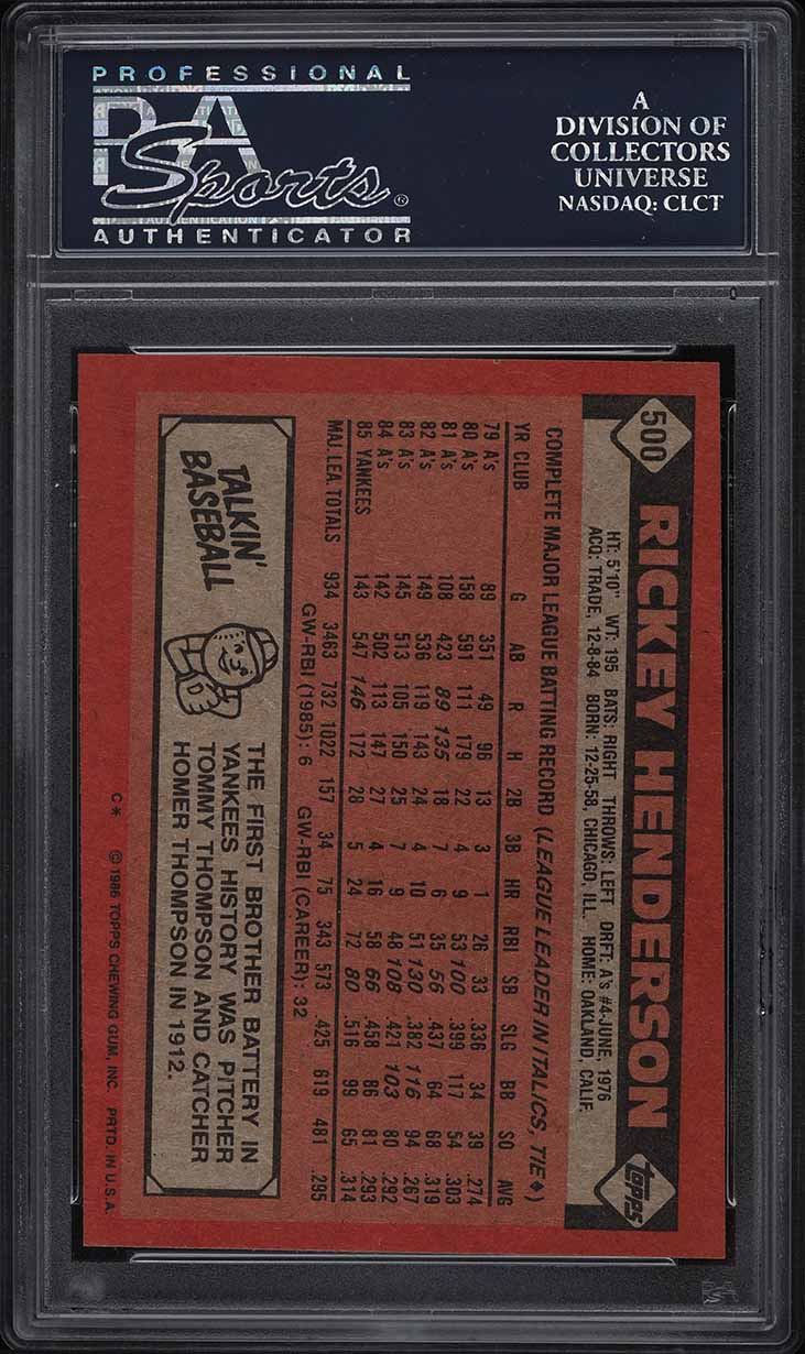 1986 Topps Rickey Henderson #500 PSA 8 NM-MT - Image 2