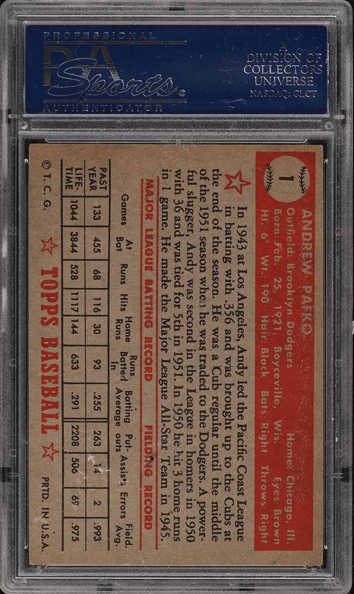 1952 Topps Andy Pafko RED BACK #1 PSA 7 NRMT - Image 2