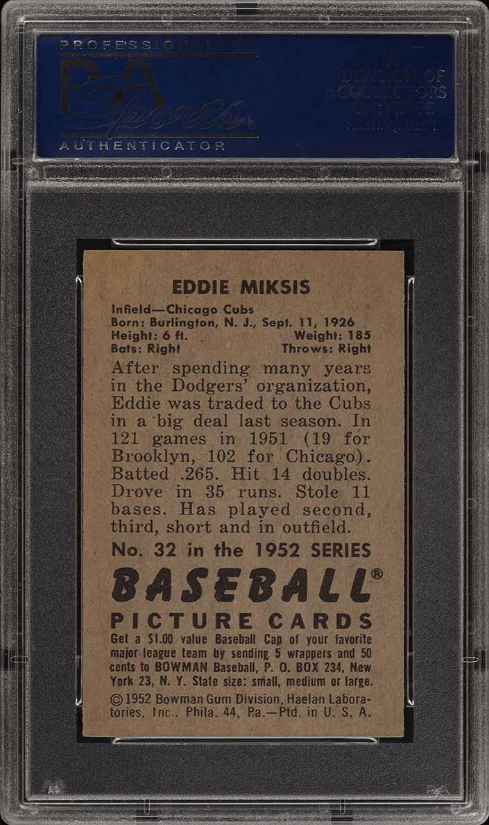 1952 Bowman SETBREAK Eddie Miksis #32 PSA 8 NM-MT (PWCC) - Image 2