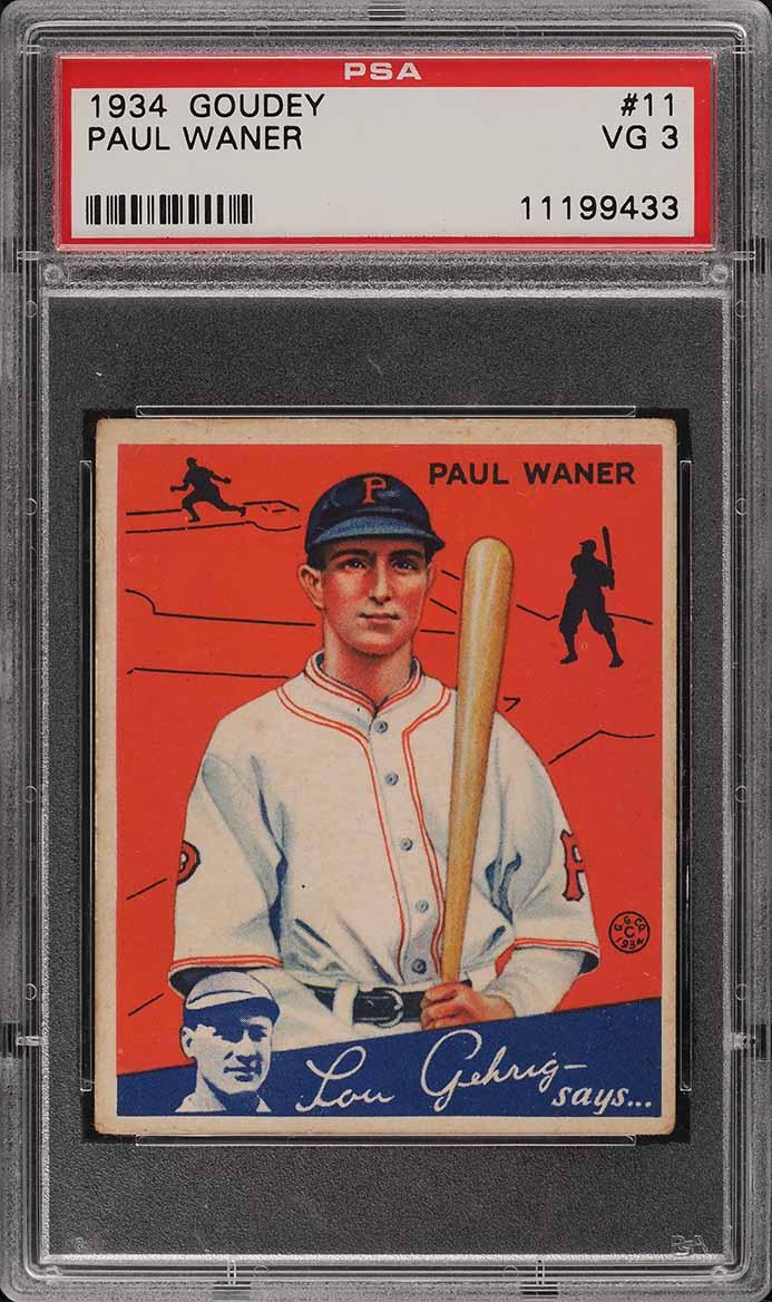 1934 Goudey Paul Waner #11 PSA 3 VG - Image 1
