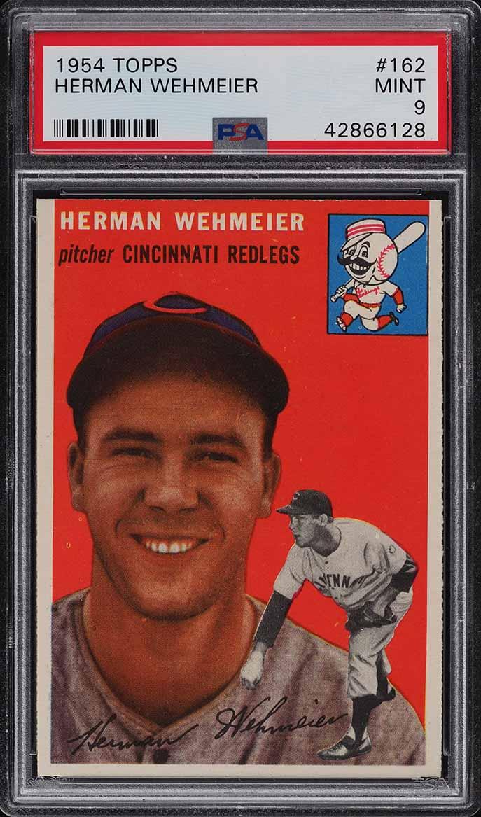 1954 Topps Herman Wehmeier #162 PSA 9 MINT - Image 1