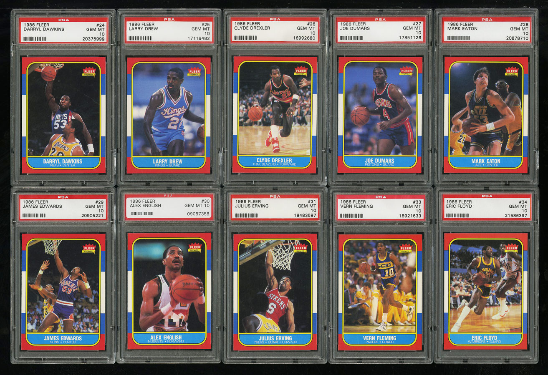1986 Fleer Basketball COMPLETE PSA 10 SET Johnny Moore Michael Jordan RC (PWCC) - Image 5