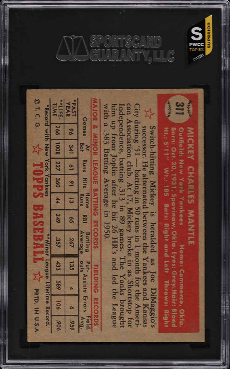 1952 Topps Mickey Mantle #311 SGC 4 VGEX (PWCC-S) - Image 2