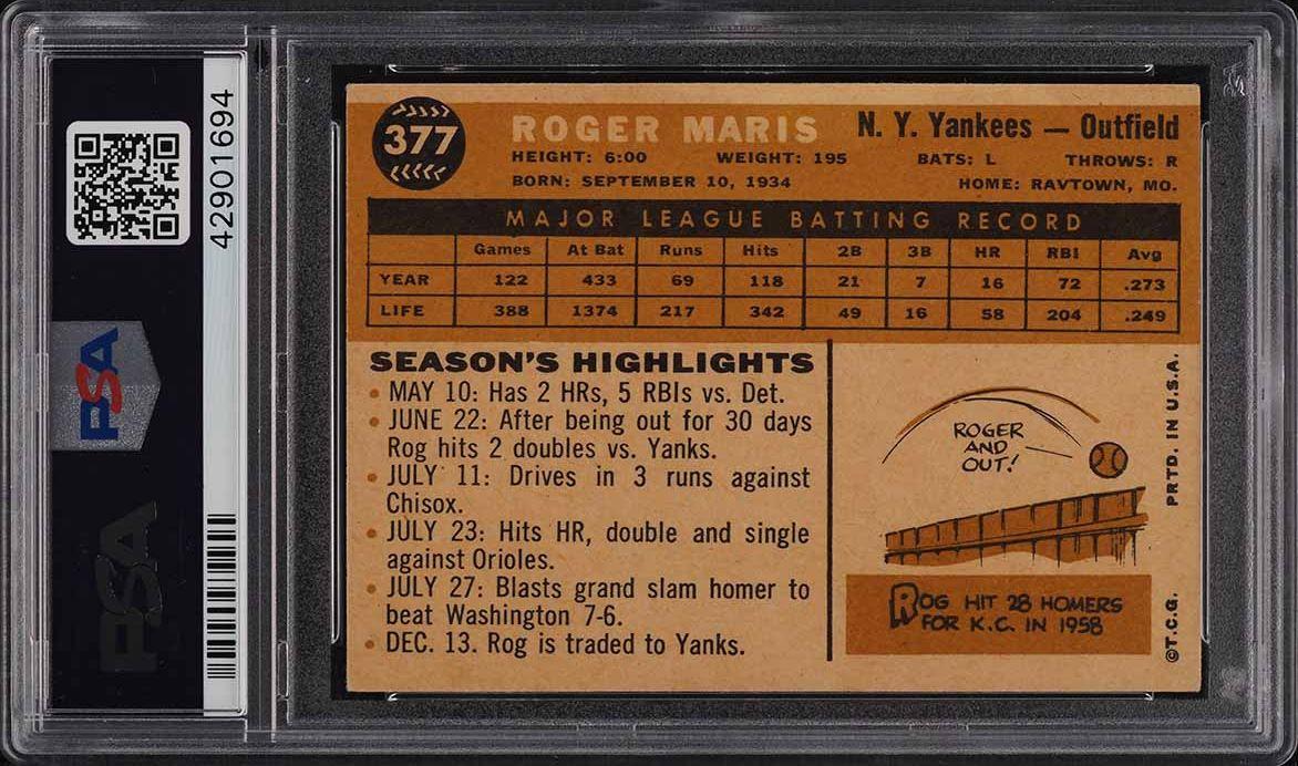 1960 Topps Roger Maris #377 PSA 6 EXMT - Image 2