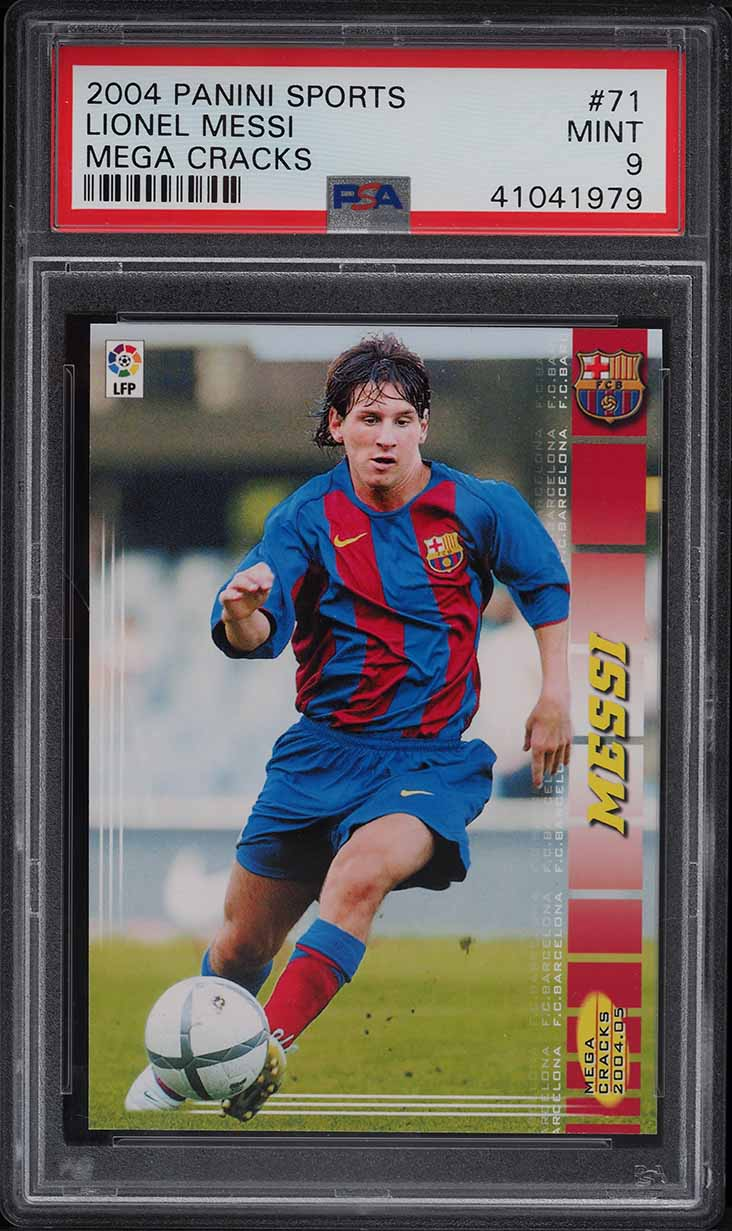 2004 Panini Sports Mega Cracks Lionel Messi ROOKIE RC #71 PSA 9 MINT - Image 1