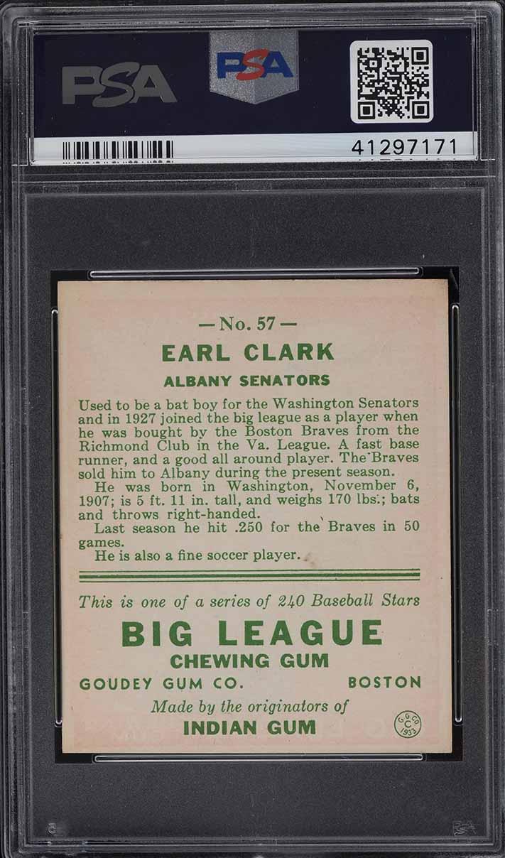 1933 Goudey Earl Clark #57 PSA 7 NRMT - Image 2