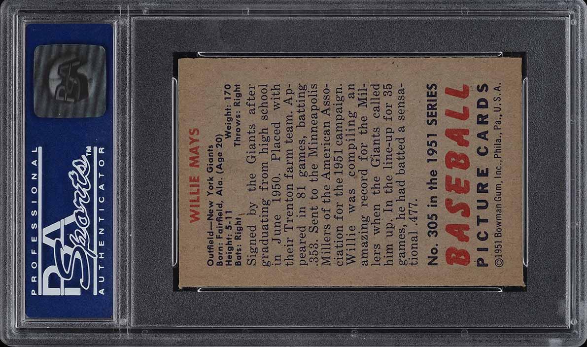 1951 Bowman Willie Mays ROOKIE RC #305 PSA 8(oc) NM-MT (PWCC) - Image 2