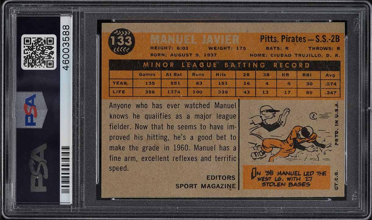1960 Topps Manuel Javier ROOKIE RC #133 PSA 8 NM-MT - Image 2