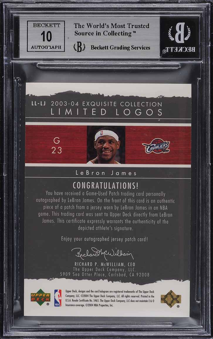 2003 Exquisite Collection Limited Logos LeBron James RC PATCH AUTO /75 BGS 8.5 - Image 2