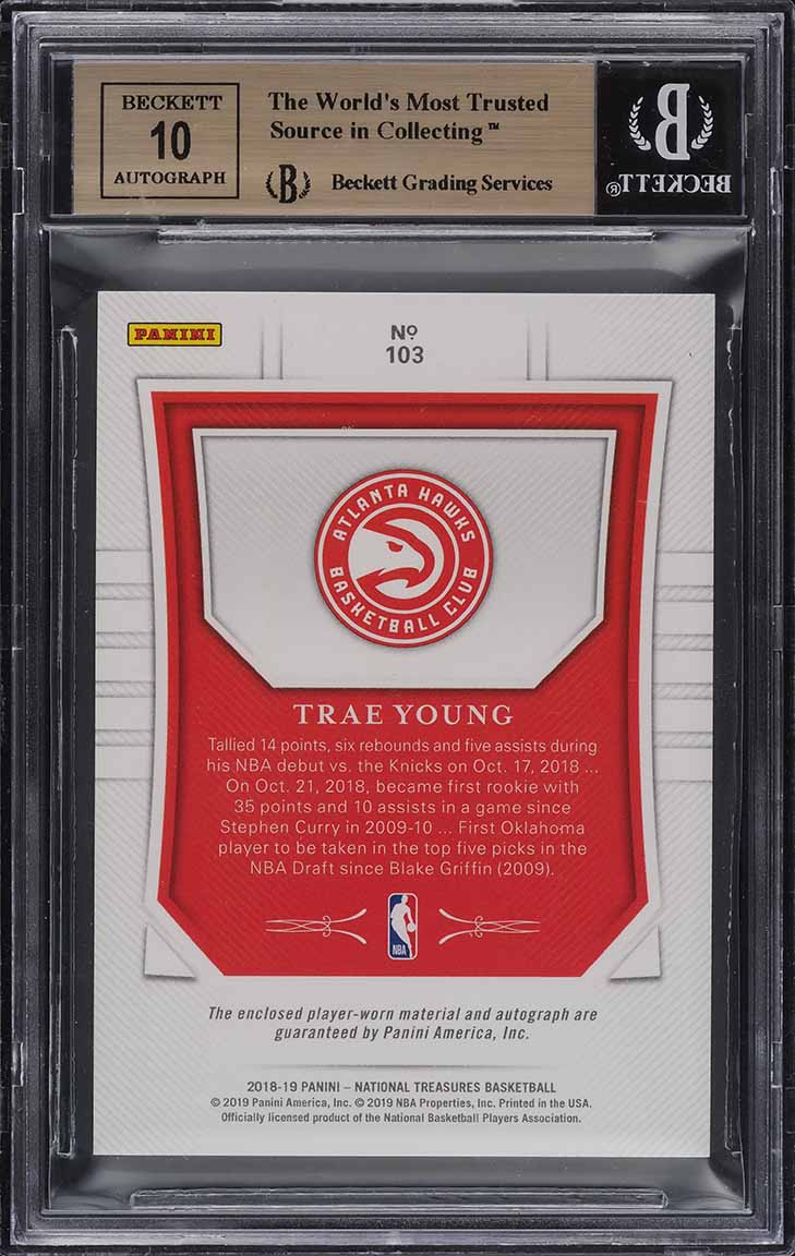 2018 National Treasures Limited Trae Young ROOKIE PATCH AUTO /20 BGS 9.5 (PWCC) - Image 2