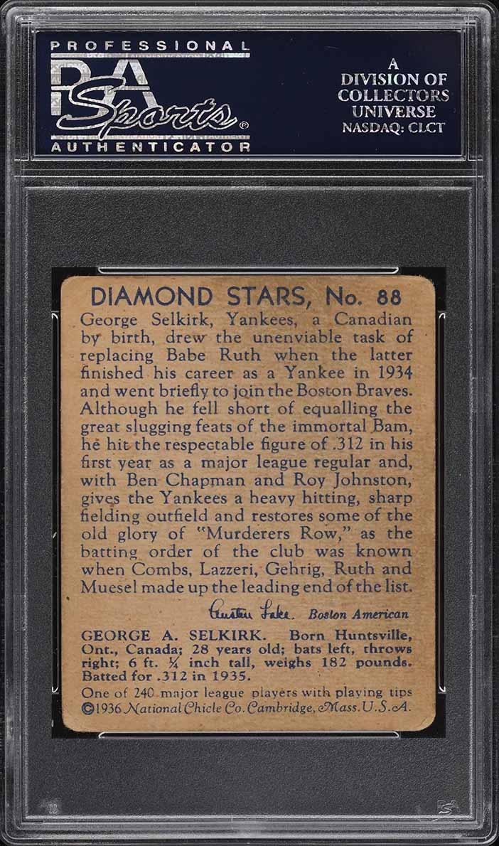 1936 Diamond Stars George Selkirk #88 PSA 2.5 GD+ - Image 2