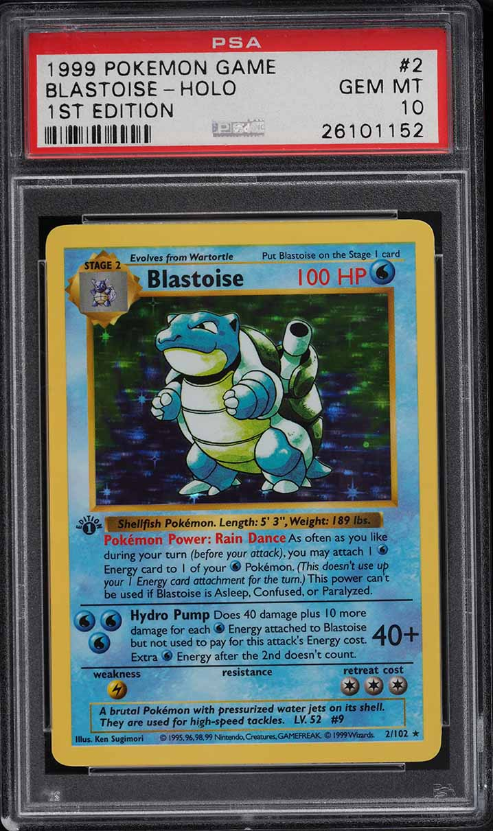 1999 Pokemon Base 1st Edition Holo Thick Stamp Shadowless Blastoise #2 PSA 10 - Image 1