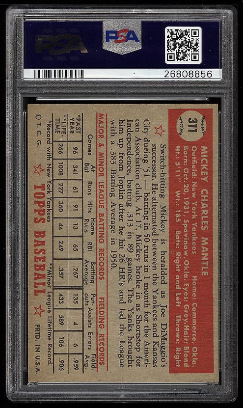 1952 Topps Mickey Mantle #311 PSA Altered (PWCC) - Image 2