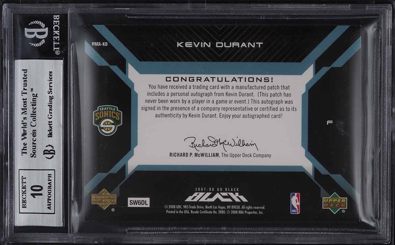 2007 Upper Deck Black Blue Kevin Durant ROOKIE RC PATCH AUTO 1/1 #KD BGS 9 MINT - Image 2