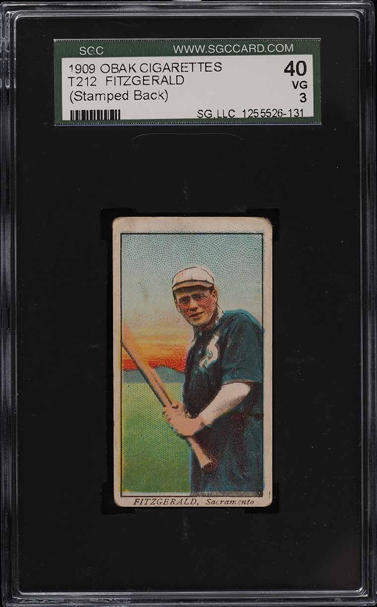1909 T212 Obak Fitzgerald STAMPED BACK SGC 3 VG - Image 1