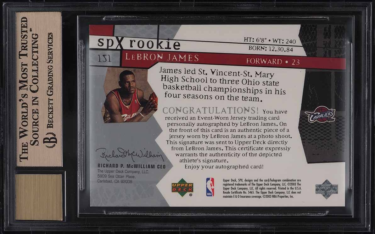 2003 SPx Basketball LeBron James ROOKIE RC GOLD PATCH AUTO /750 #151 BGS 9.5 - Image 2