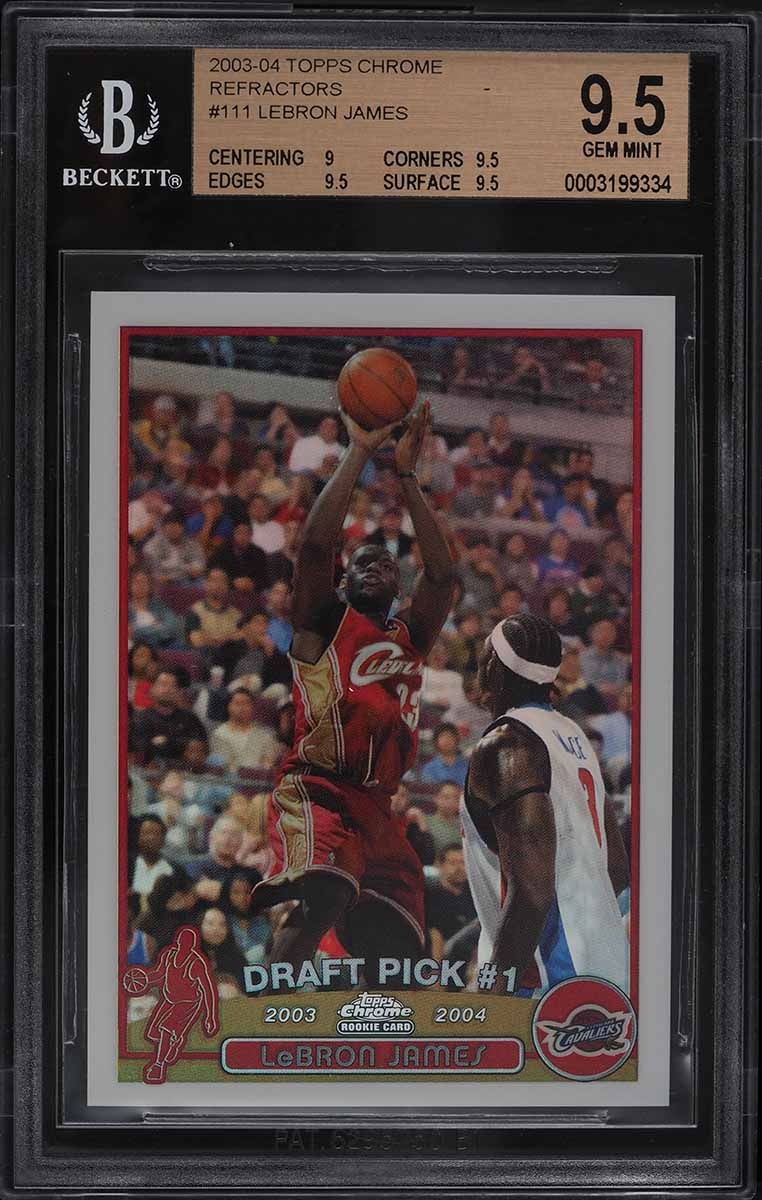 2003 Topps Chrome Refractor LeBron James ROOKIE RC #111 BGS 9.5 GEM MINT - Image 1