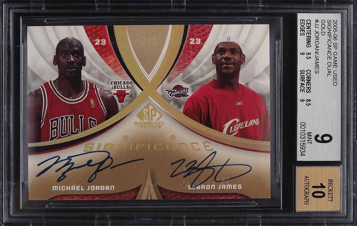 2005 SP Game Used Significance Gold Michael Jordan LeBron James AUTO /5 BGS 9 - Image 1