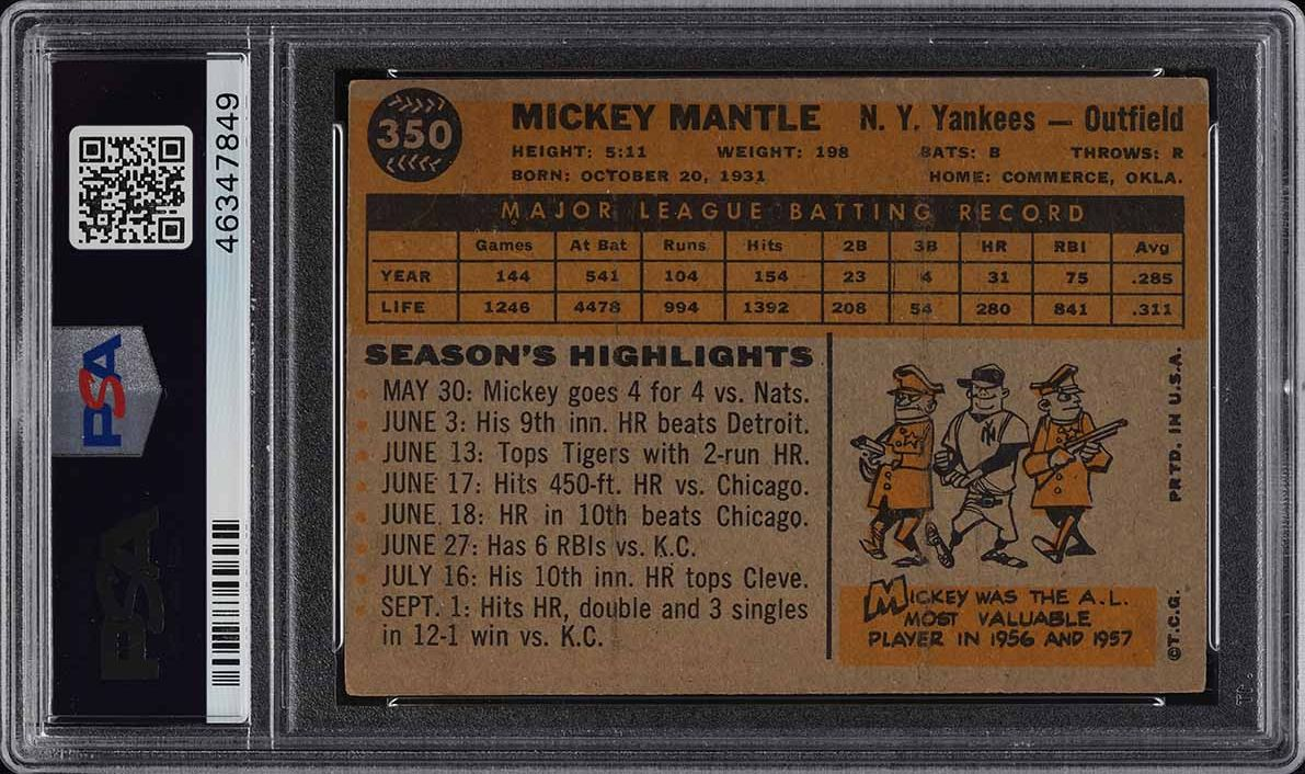1960 Topps Mickey Mantle #350 PSA 3 VG - Image 2