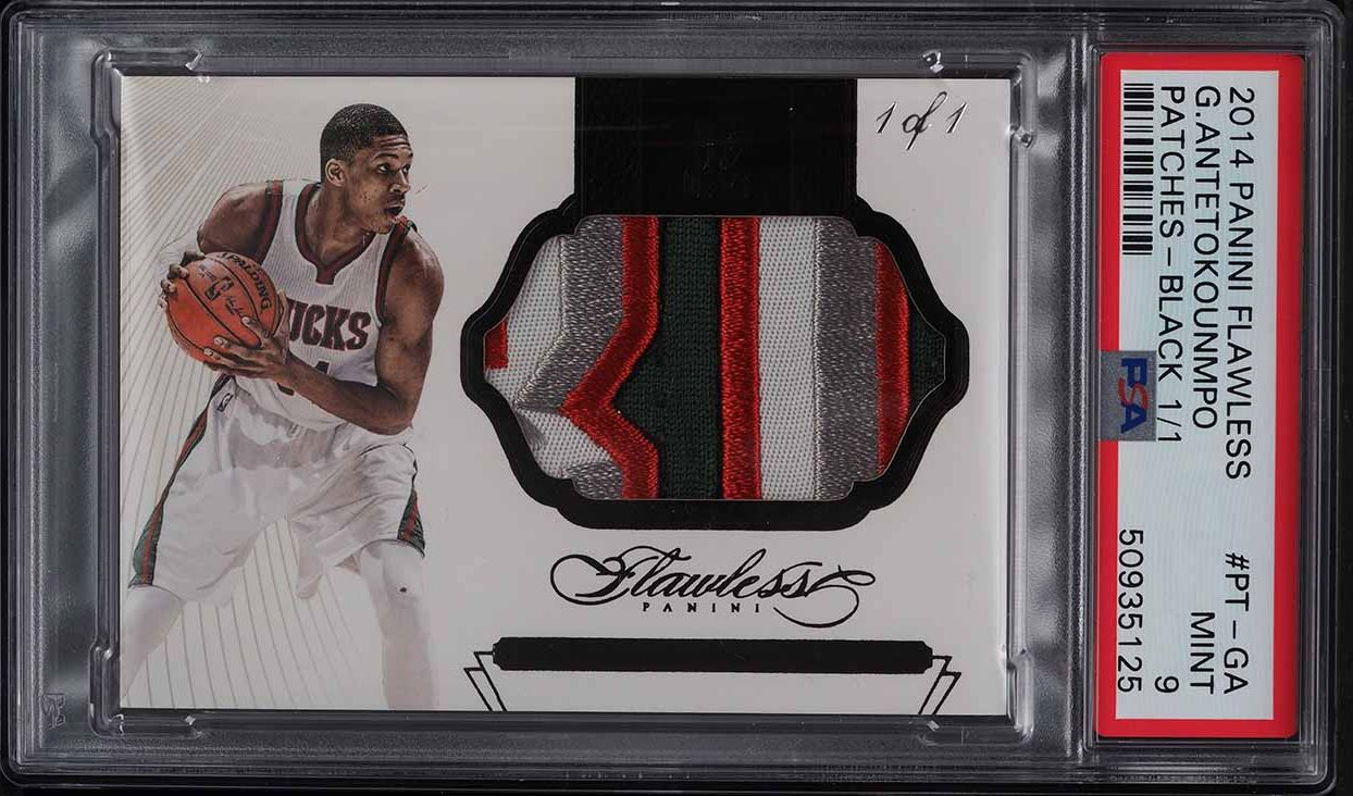 2014 Panini Flawless Black Giannis Antetokounmpo GAME-USED PATCH 1/1 PSA 9 MINT - Image 1