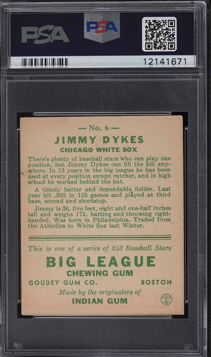1933 Goudey Jimmy Dykes AGE IS 36 IN BIO #6 PSA 6 EXMT - Image 2