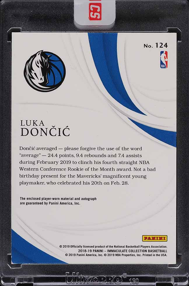 2018 Immaculate Collection Luka Doncic ROOKIE RC PATCH AUTO /77 #124 - Image 2
