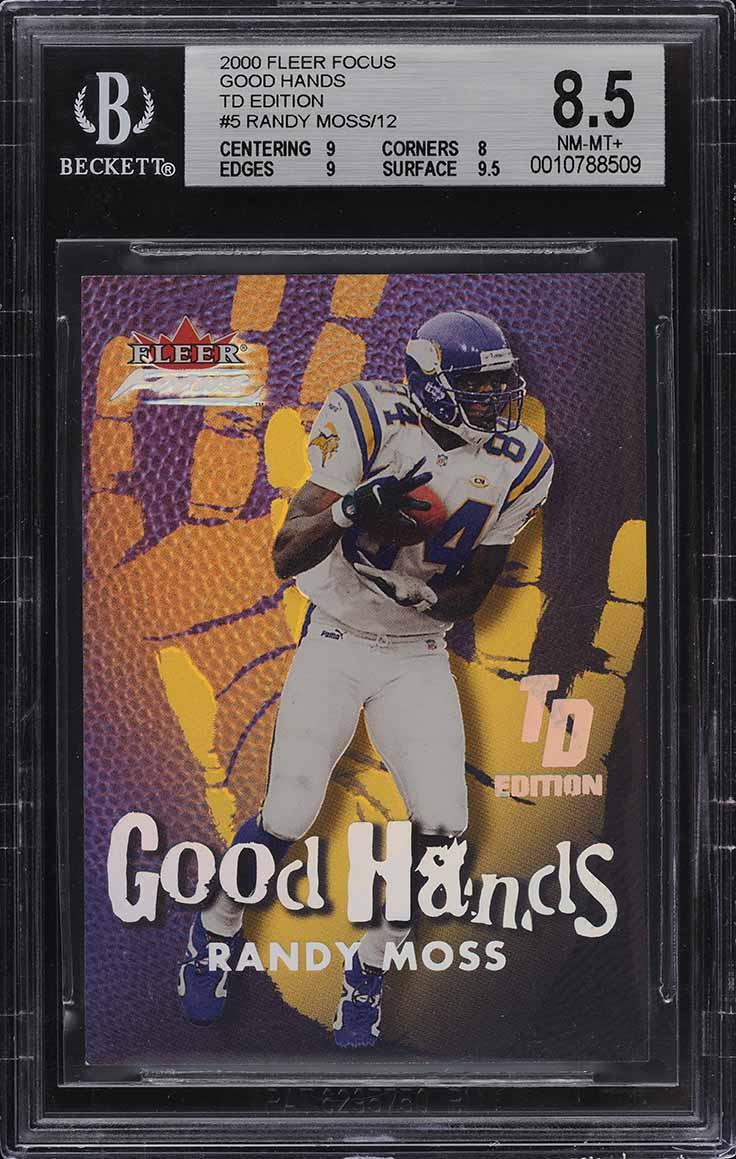 2000 Fleer Focus Good Hands TD Edition Randy Moss /12 #5 BGS 8.5 NM-MT+ - Image 1