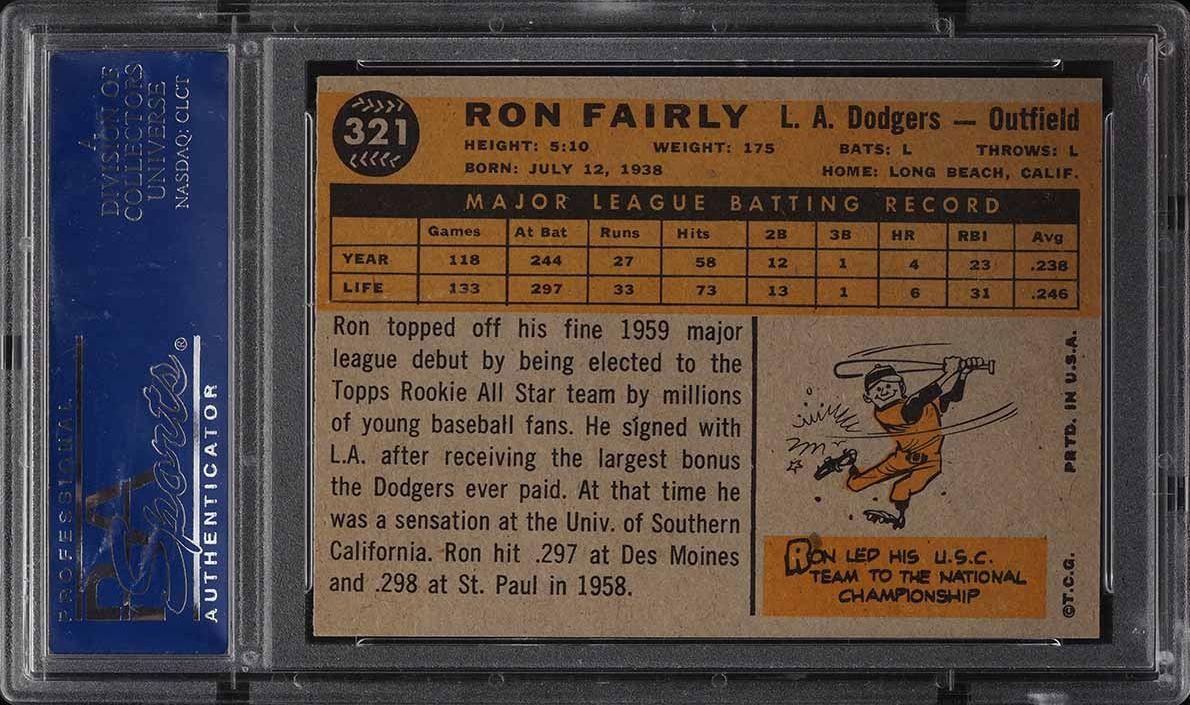 1960 Topps Ron Fairly #321 PSA 8 NM-MT - Image 2