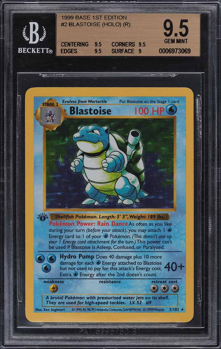 1999 Pokemon Base Set 1st Edition Shadowless Holo Blastoise #2 BGS 9.5 GEM MINT - Image 1