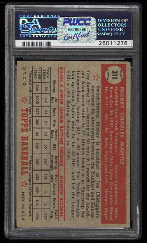 1952 Topps Mickey Mantle #311 PSA 2.5 GD+ (PWCC-HE) - Image 2
