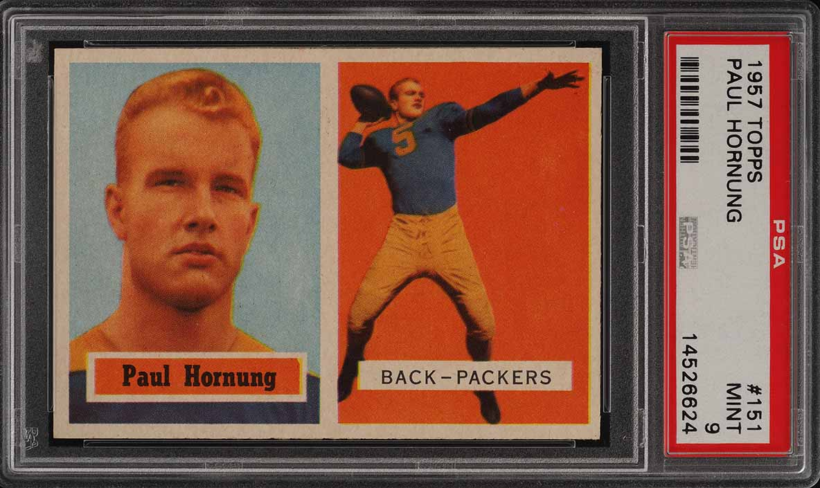 1957 Topps Football Paul Hornung ROOKIE RC #151 PSA 9 MINT (PWCC) - Image 1