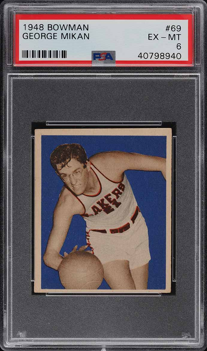 1948 Bowman Basketball George Mikan ROOKIE RC #69 PSA 6 EXMT - Image 1