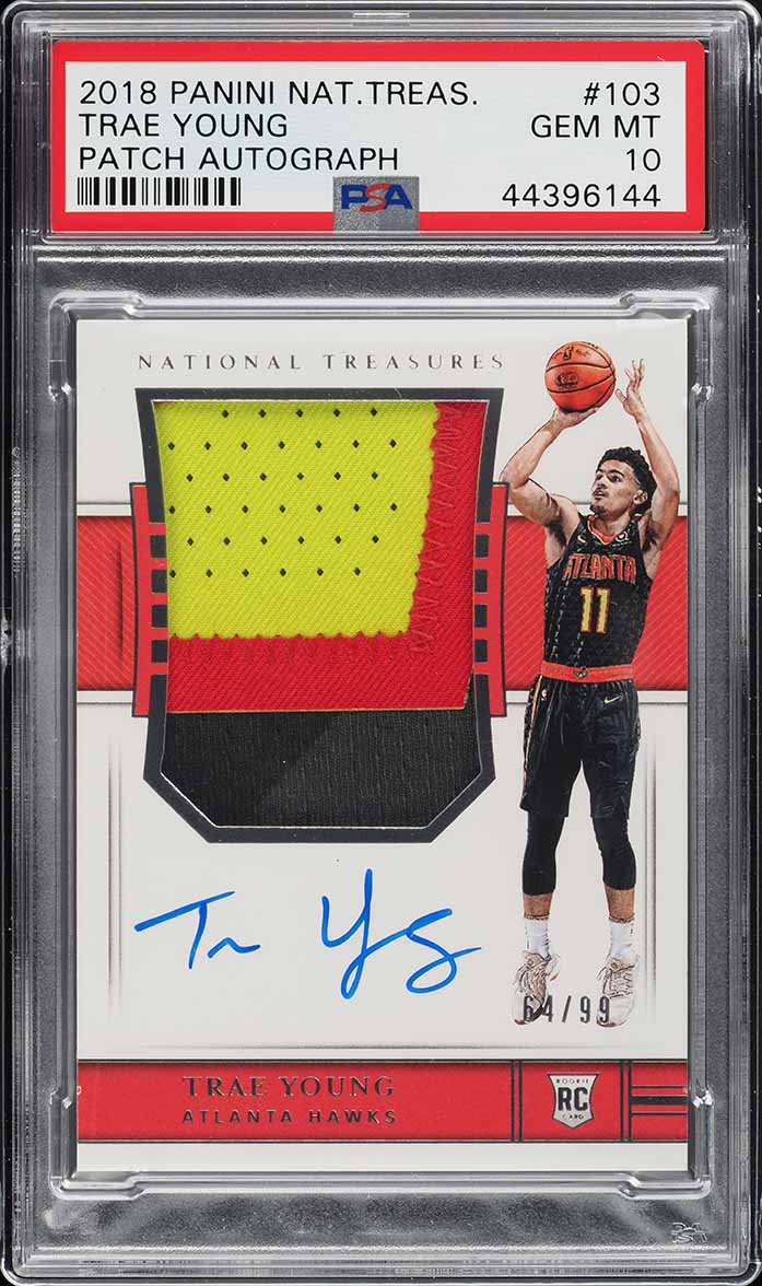 2018 National Treasures Trae Young ROOKIE RC AUTO PATCH /99 #103 PSA 10 (PWCC) - Image 1