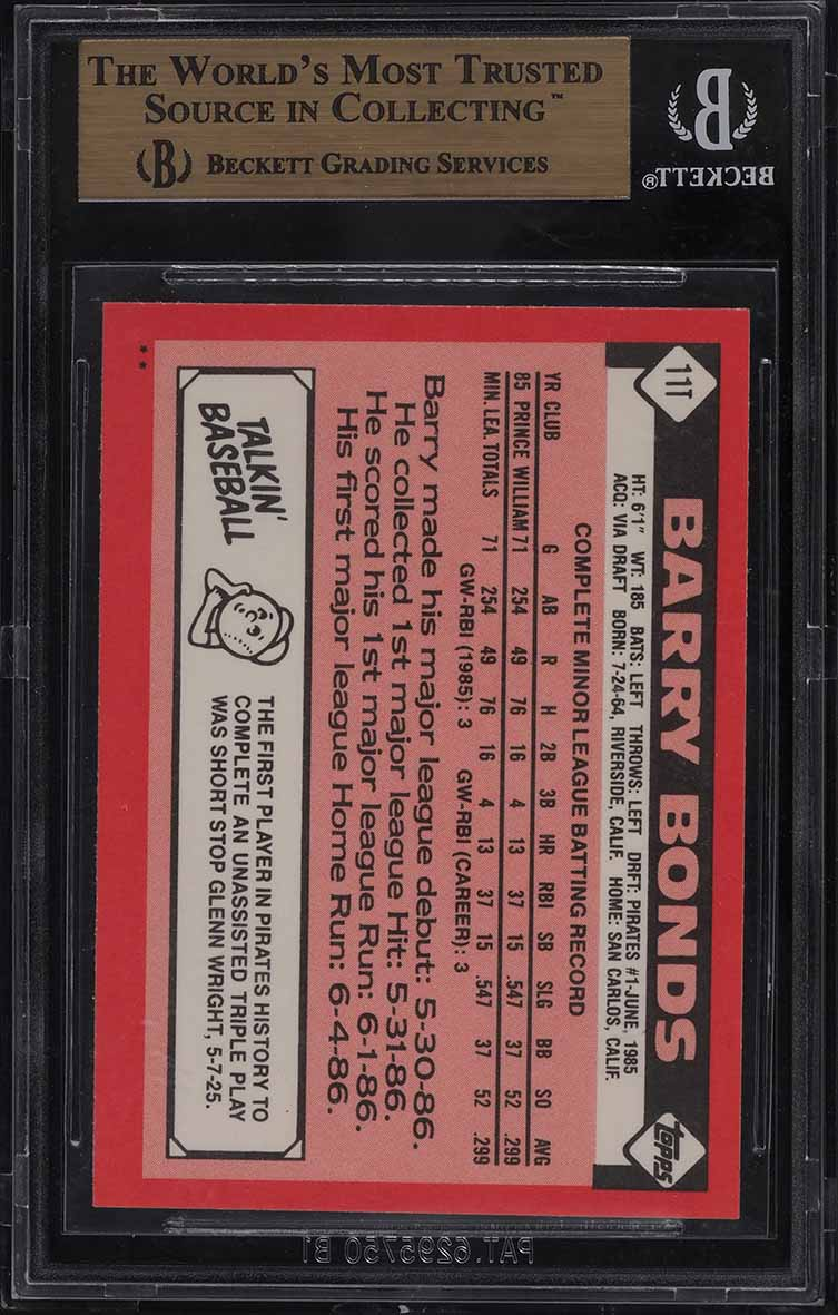 1986 Topps Traded Barry Bonds ROOKIE RC #11T BGS 9.5 GEM MINT - Image 2